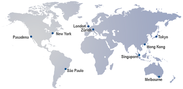Western Asset Global offices, Pasadena, New York, Sao Paulo, London, Zurich, Singapore, Hong Kong, Tokyo and Melbourne